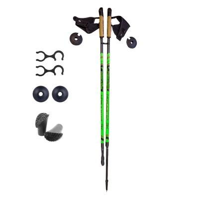 Палки для скандинавской ходьбы NordicStep 3K 100% Carbon (Зеленые)