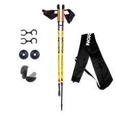 Палки для скандинавской ходьбы NordicStep 3K 100% Carbon (Желтые)