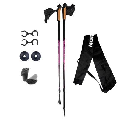 Палки для скандинавской ходьбы NordicStep Prima 70% Carbon (Розовые/Черные)