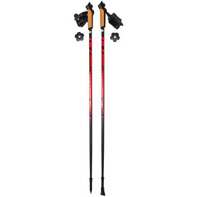Палки для скандинавской ходьбы NordicStep PRO фиксированные 100% Carbon 3K (Красные)